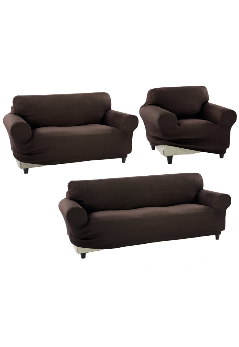Set huse elastice pentru o canapea 3 locuri - o canapea 2 locuri si 1 fotoliu Nairobi - 60% bumbac+ 35% poliester + 5% elastan