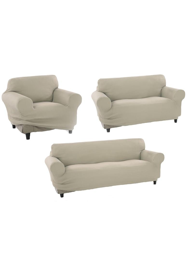 Set huse elastice pentru o canapea 3 locuri - o canapea 2 locuri si 1 fotoliu Nairobi - 60% bumbac+ 35% poliester + 5% elastan imagine fashiondays.ro 2021