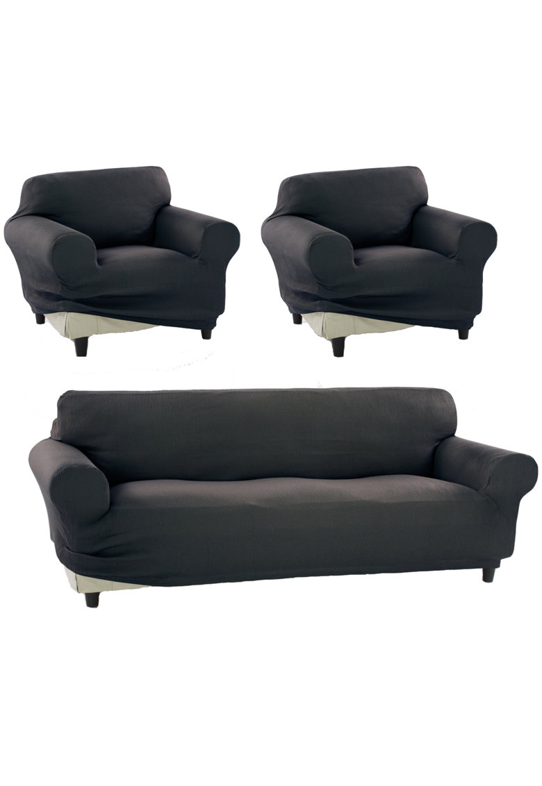 Set huse elastice pentru canapea 3 locuri si 2 fotolii Nairobi - 60% bumbac+ 35% poliester + 5% elastan poza fashiondays