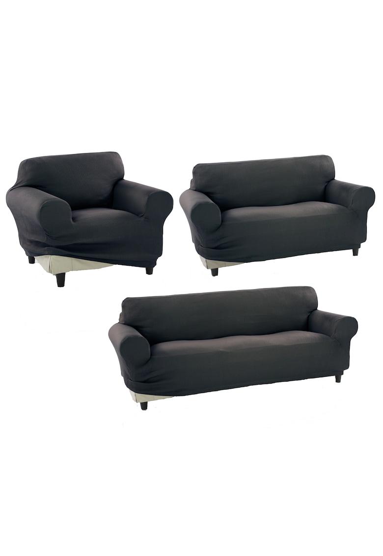 Set huse elastice pentru o canapea 3 locuri - o canapea 2 locuri si 1 fotoliu Nairobi - 60% bumbac+ 35% poliester + 5% elastan Kring fashiondays.ro