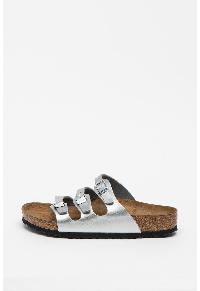 Papuci regular fit din piele ecologica - cu aspect metalizat Florida