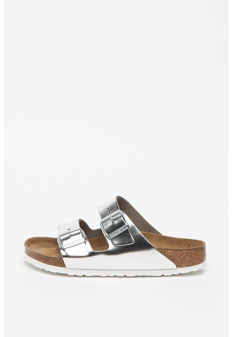 Papuci regular fit din piele Arizona