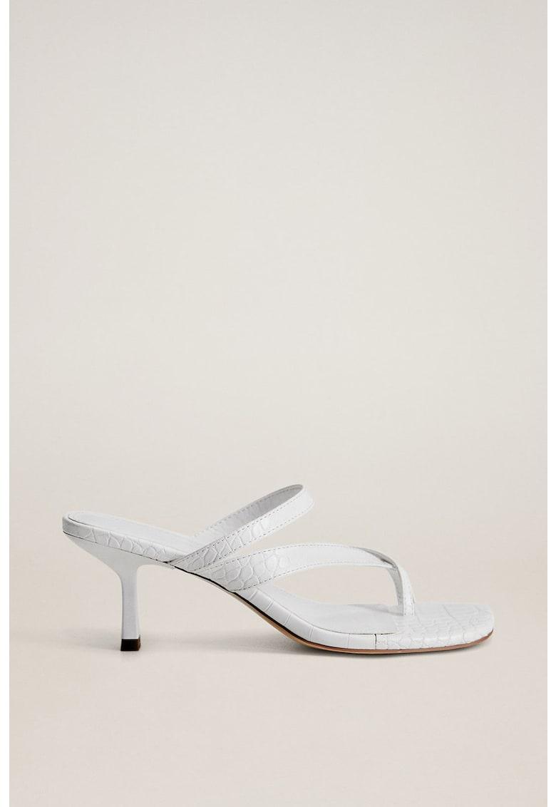Papuci cu toc si bareta separatoare - de piele ecologica Pile imagine