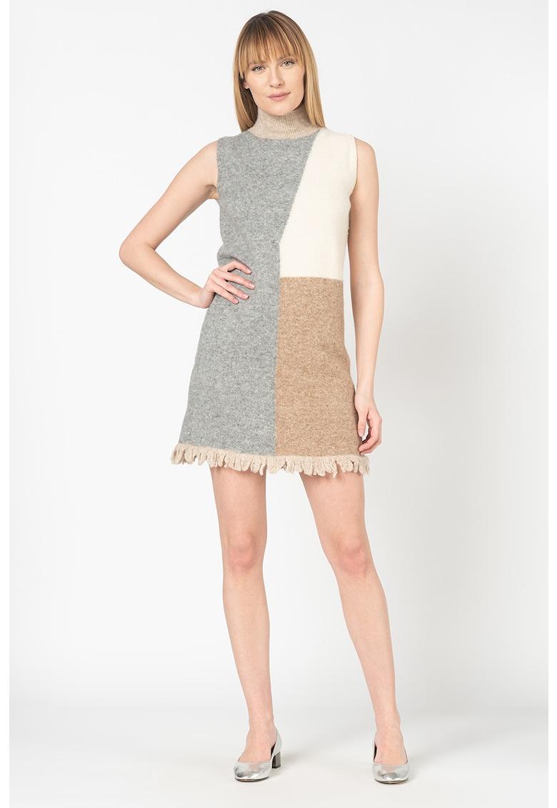 Rochie tip pulover din amestec de lana - cu model colorblock
