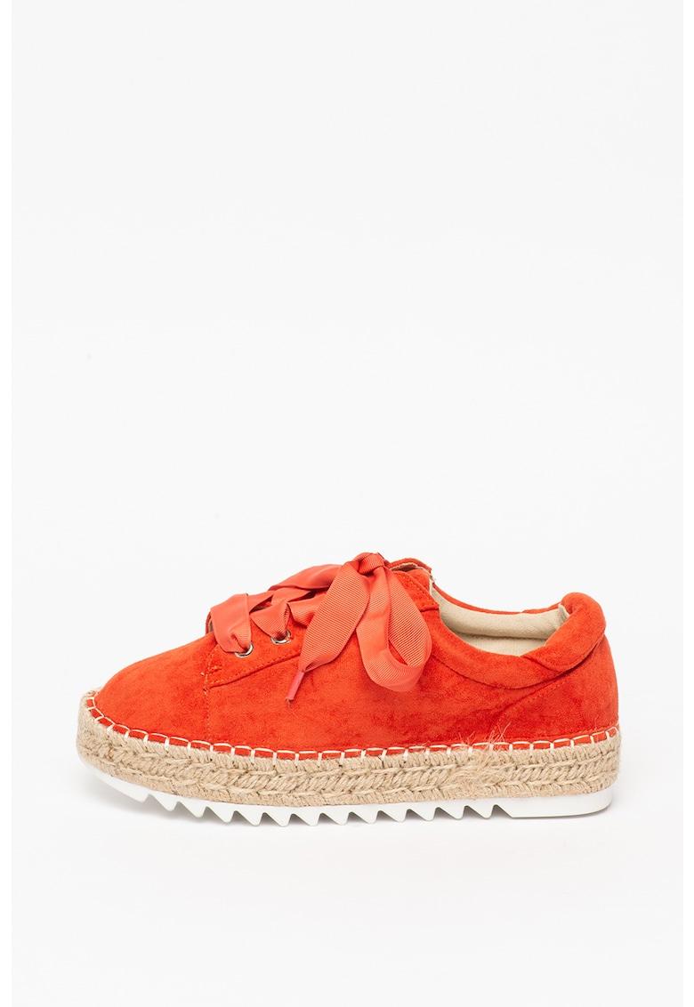 Pantofi sport tip espadrile de piele intoarsa ecologica cu talpa cu striatii