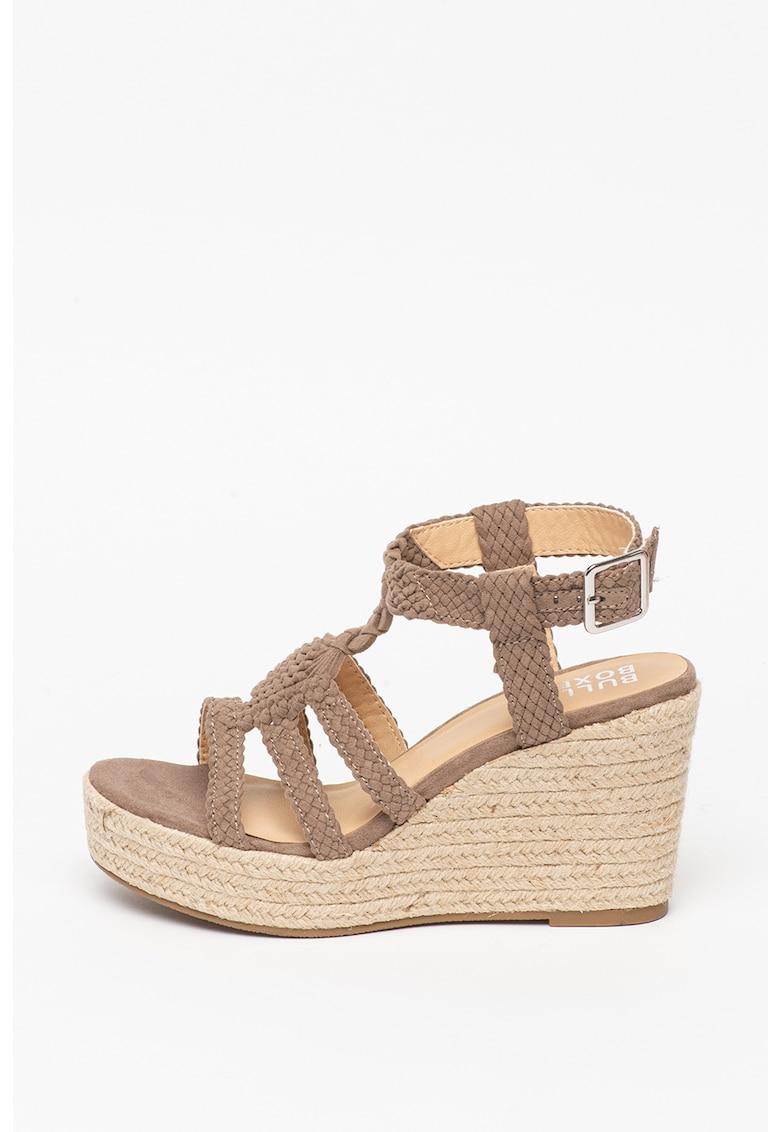 Sandale wedge tip espadrile de piele intoarsa ecologica poza fashiondays