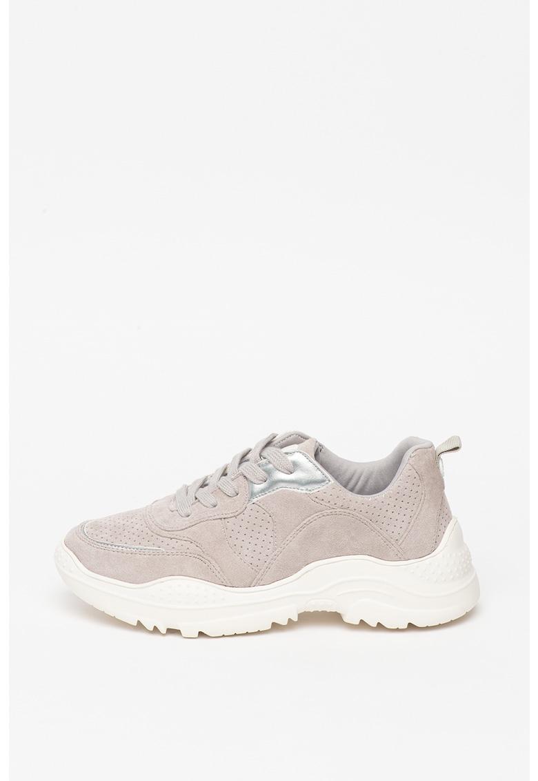 Pantofi sport de piele intoarsa ecologica cu talpa masiva