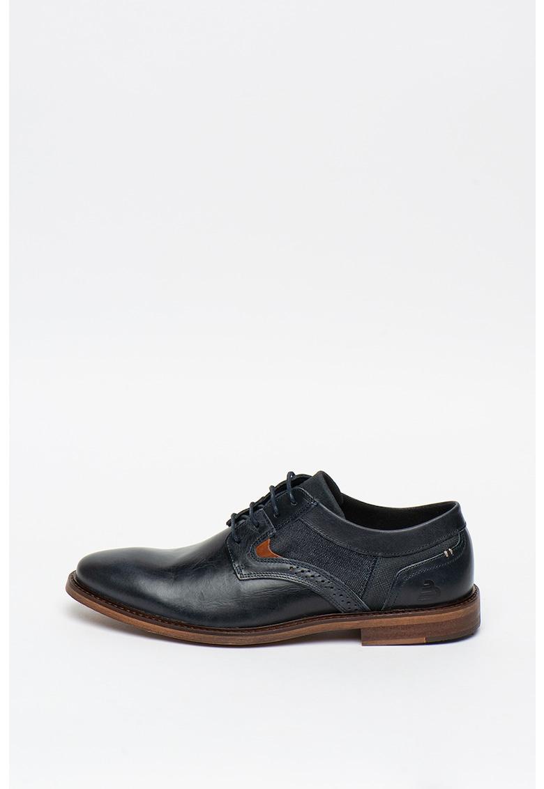 Pantofi derby de piele cu insertii textile imagine