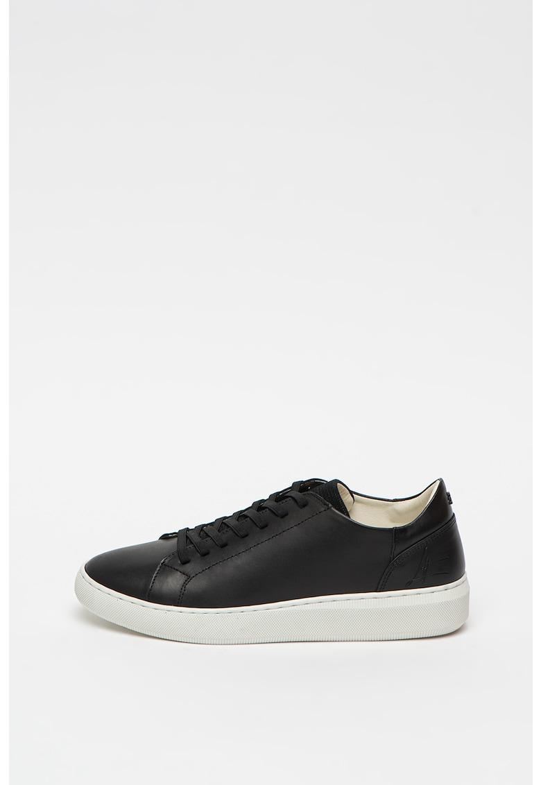 Pantofi sport de piele cu sireturi elastice