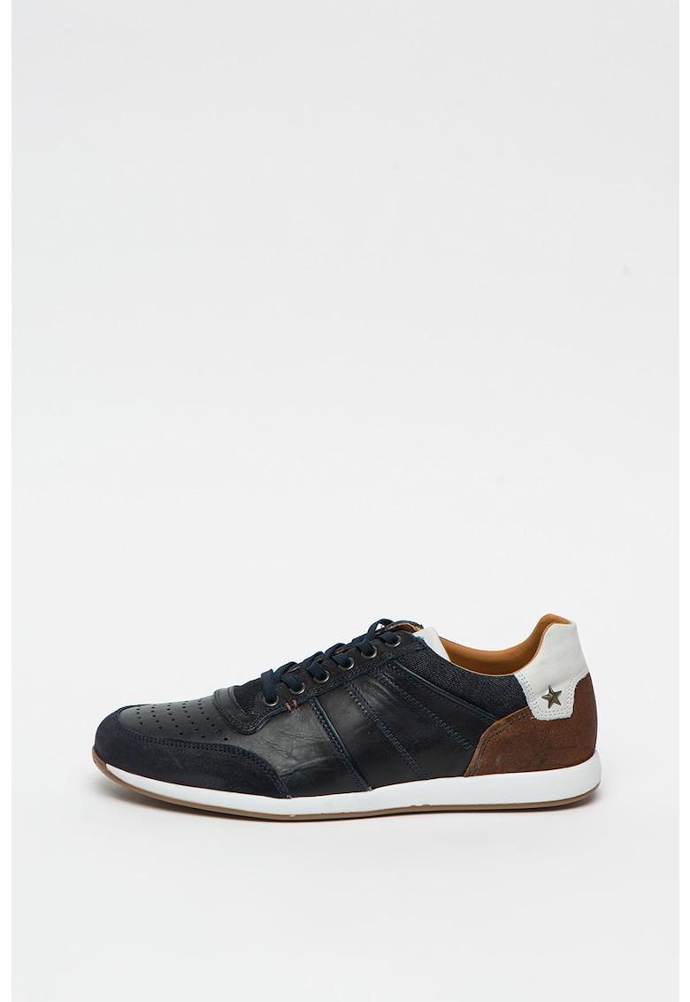 Pantofi sport cu model colorblock si garnituri de piele intoarsa si piele poza fashiondays