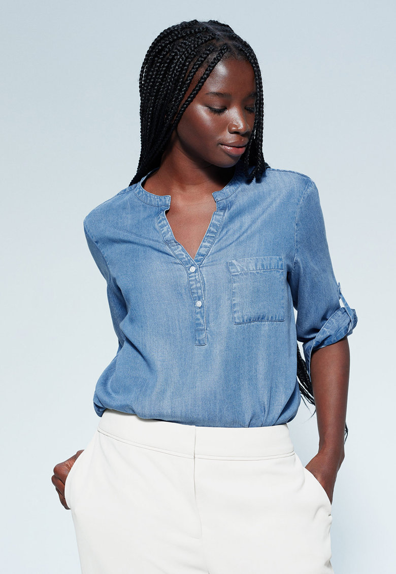 Bluza tip tunica din chambray Infinity