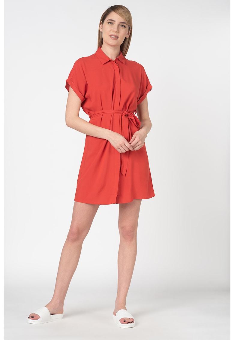 Rochie mini tip camasa din viscoza - cu cordon
