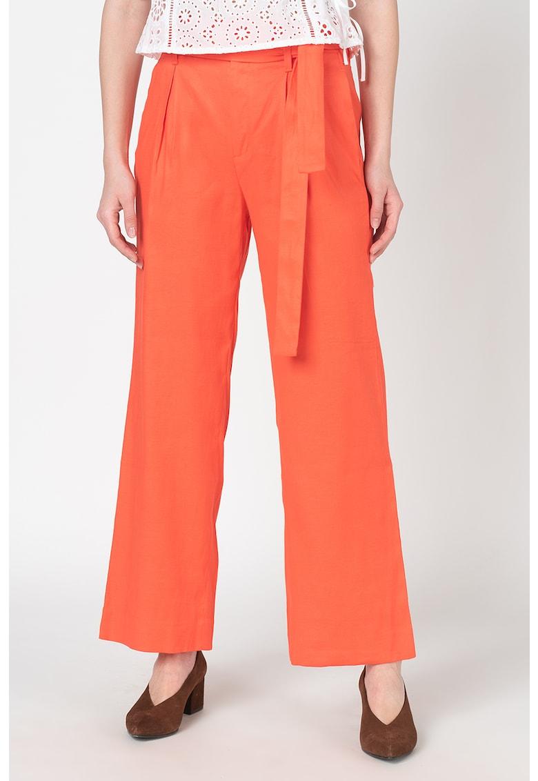 Pantaloni din amestec de in cu talie inalta