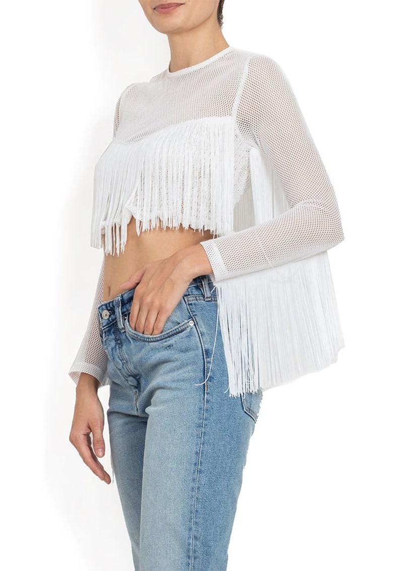 Bluza crop de plasa cu franjuri imagine