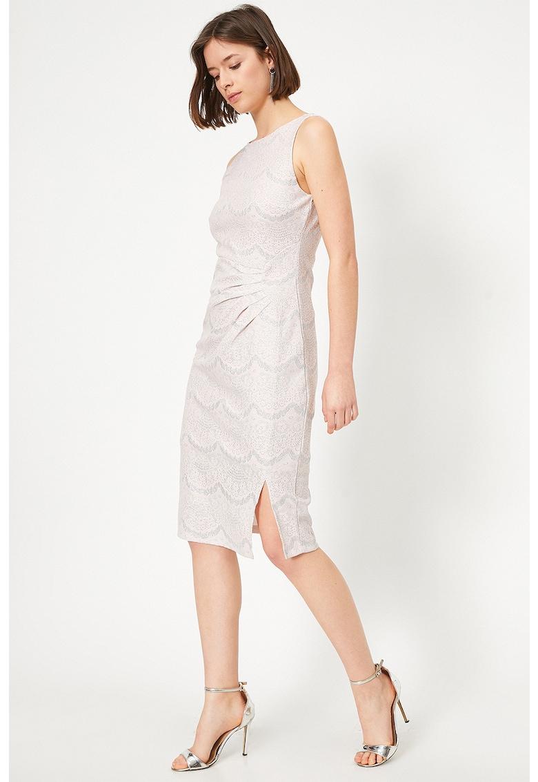 Rochie midi cu model si aspect stralucitor