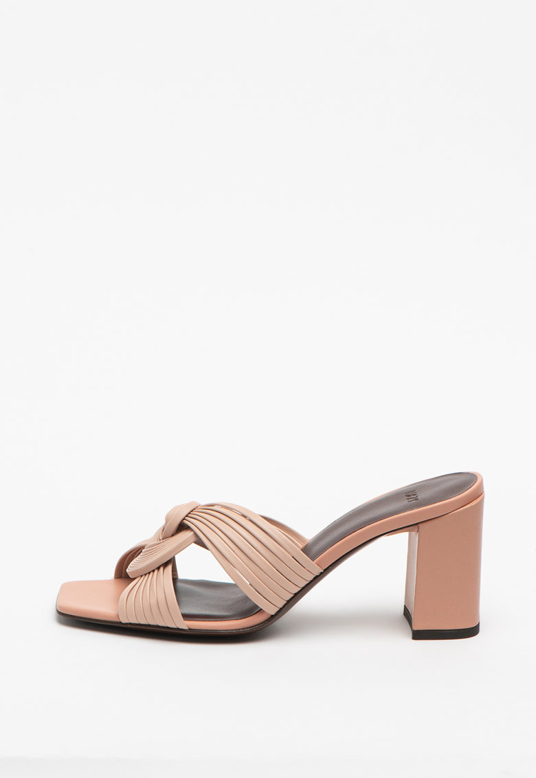 Papuci din piele cu detaliu nod