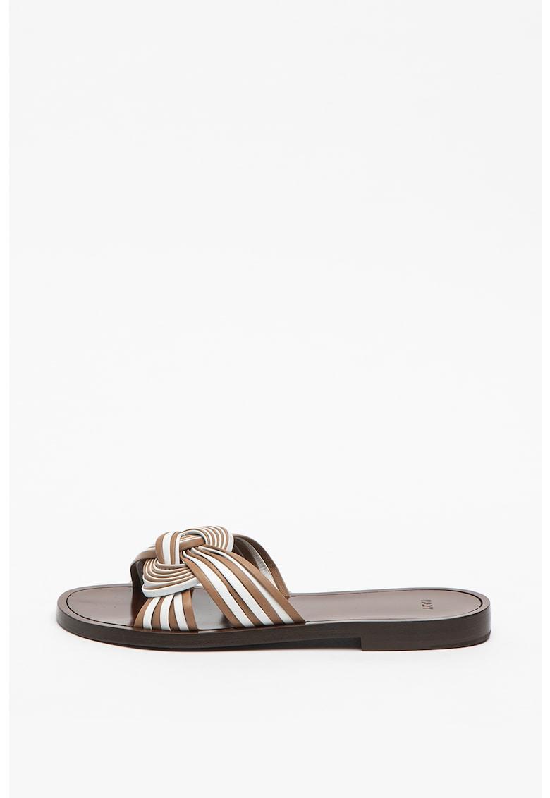 Papuci de piele cu detaliu nod