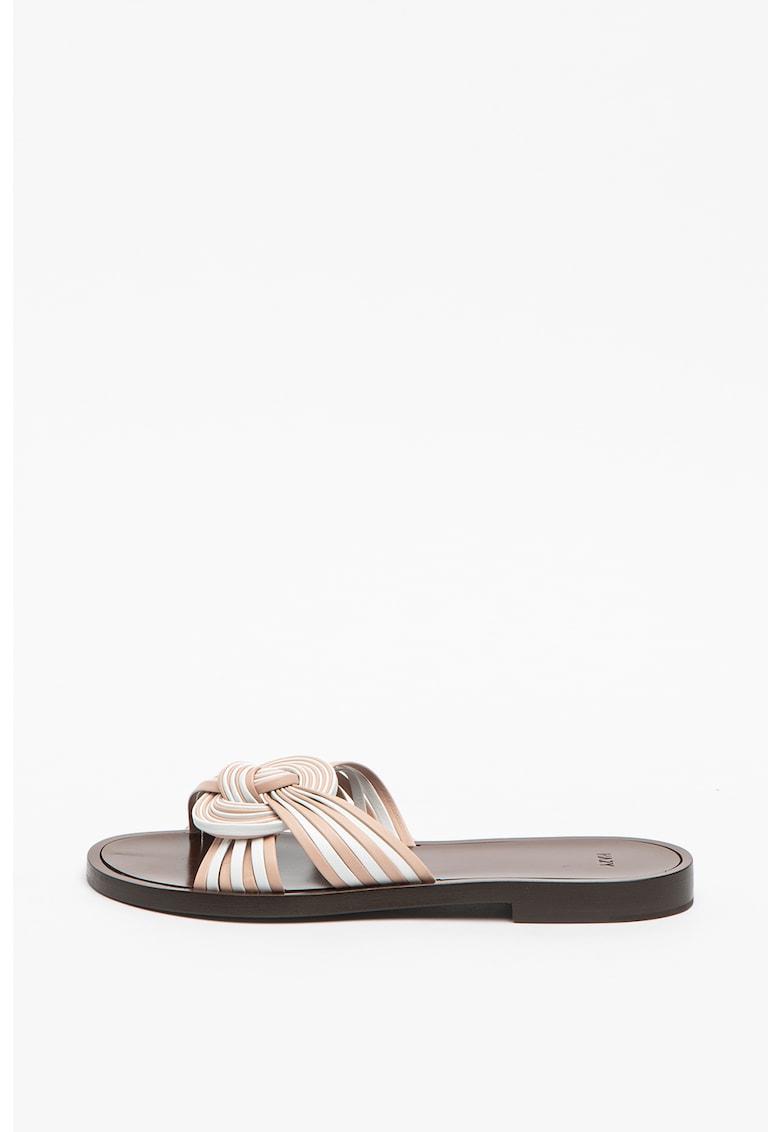 Papuci de piele cu talpa plata