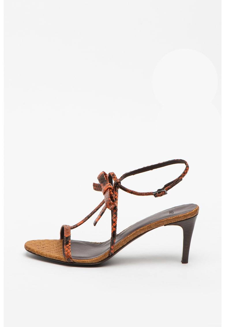 Sandale de piele cu toc inalt