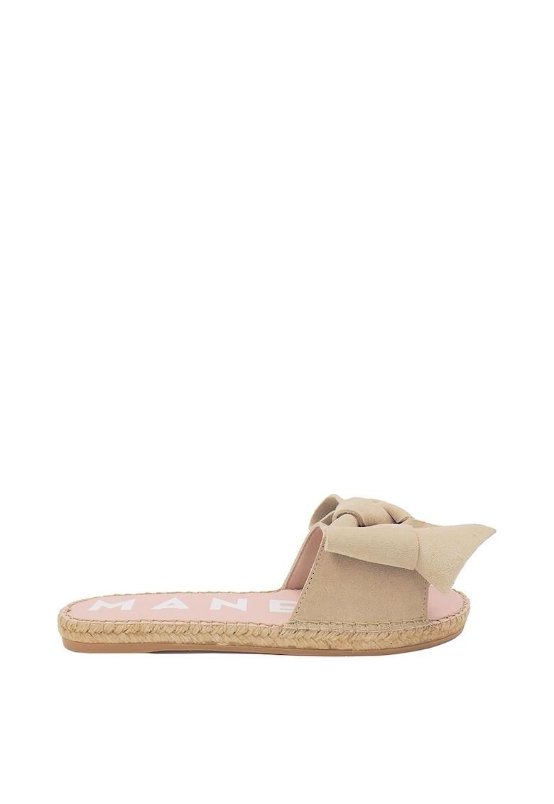 Papuci tip espadrile de piele intoarsa