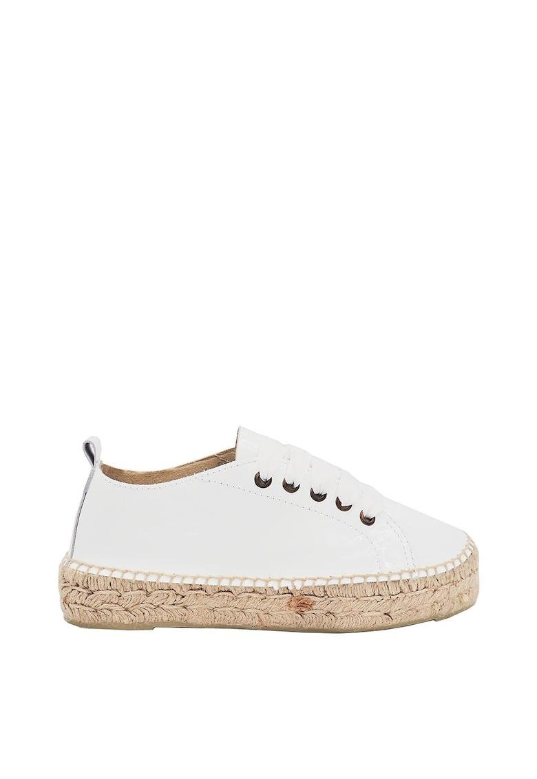 Pantofi sport tip espadrile de piele cu sireturi din panglici