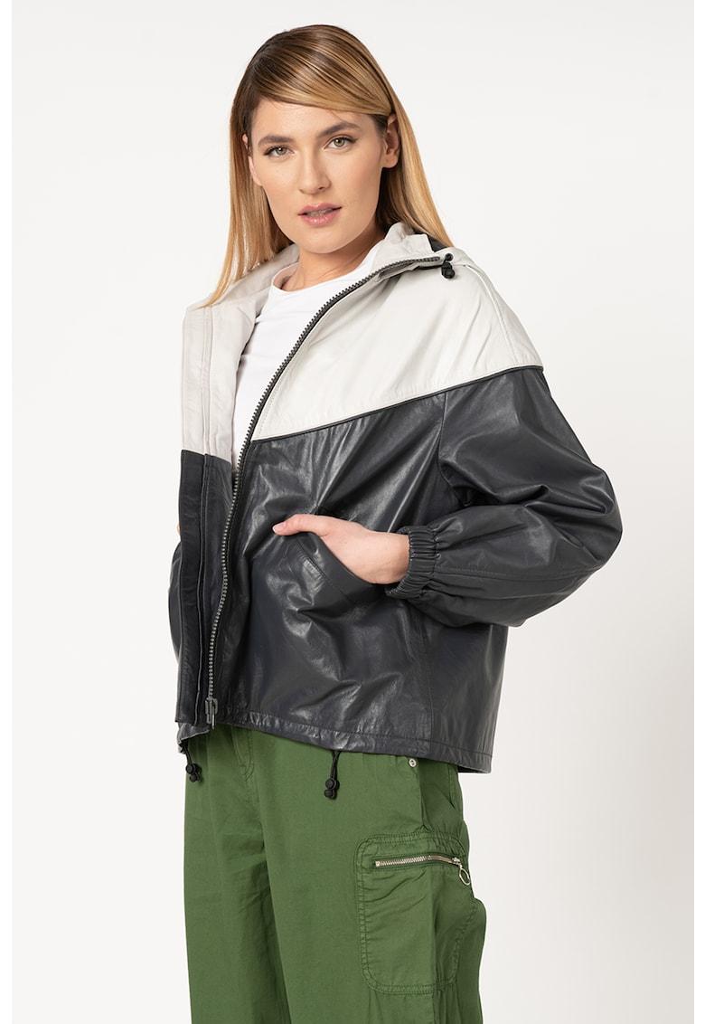 Jacheta de piele cu gluga Dua Lipa Lucy