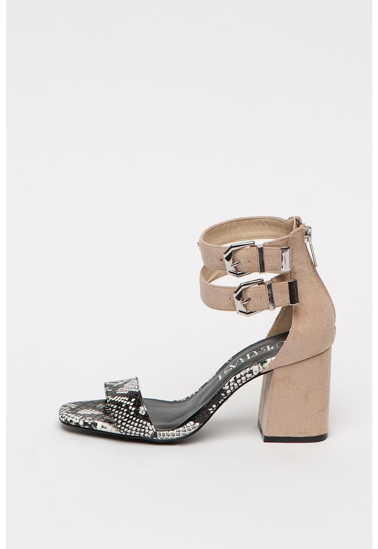 Sandale din piele intoarsa sintetica cu toc masiv Ayla