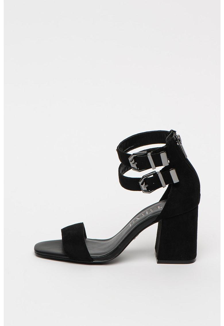 Sandale din piele intoarsa sintetica cu toc masiv Ayla SuperTrash fashiondays.ro
