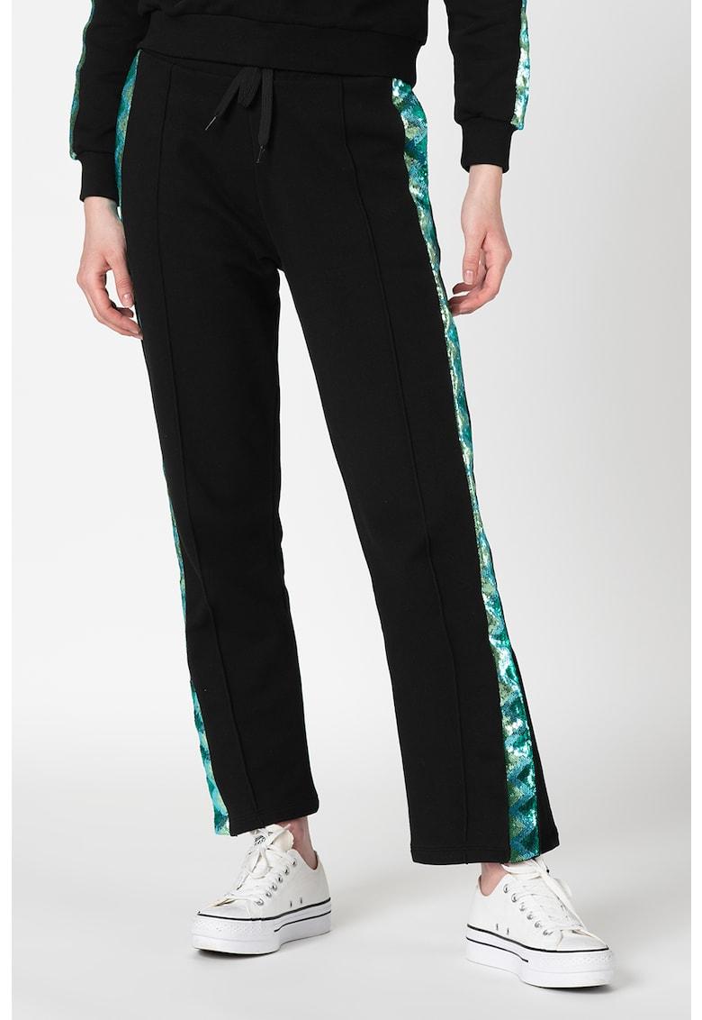Pantaloni sport cu benzi laterale cu paiete
