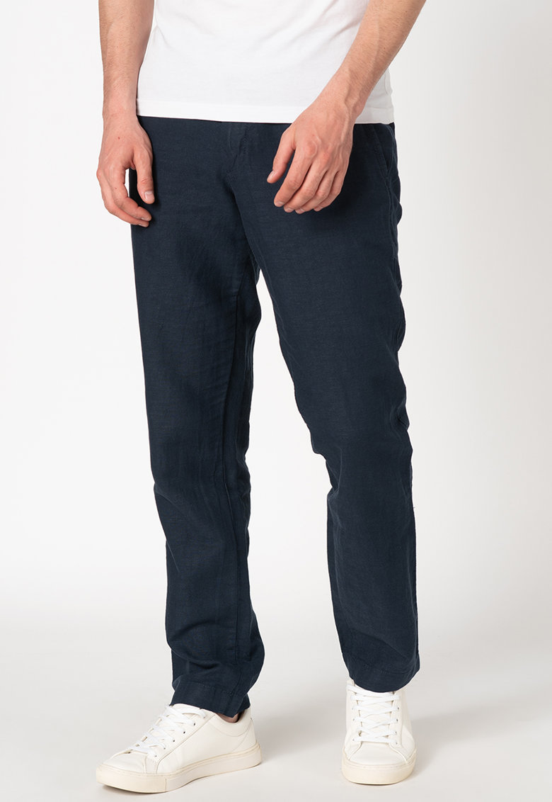 Pantaloni chino slim fit din amestec de in
