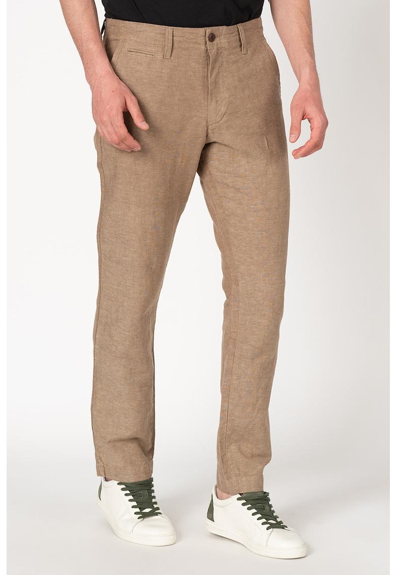 Pantaloni chino slim fit din amestec de in