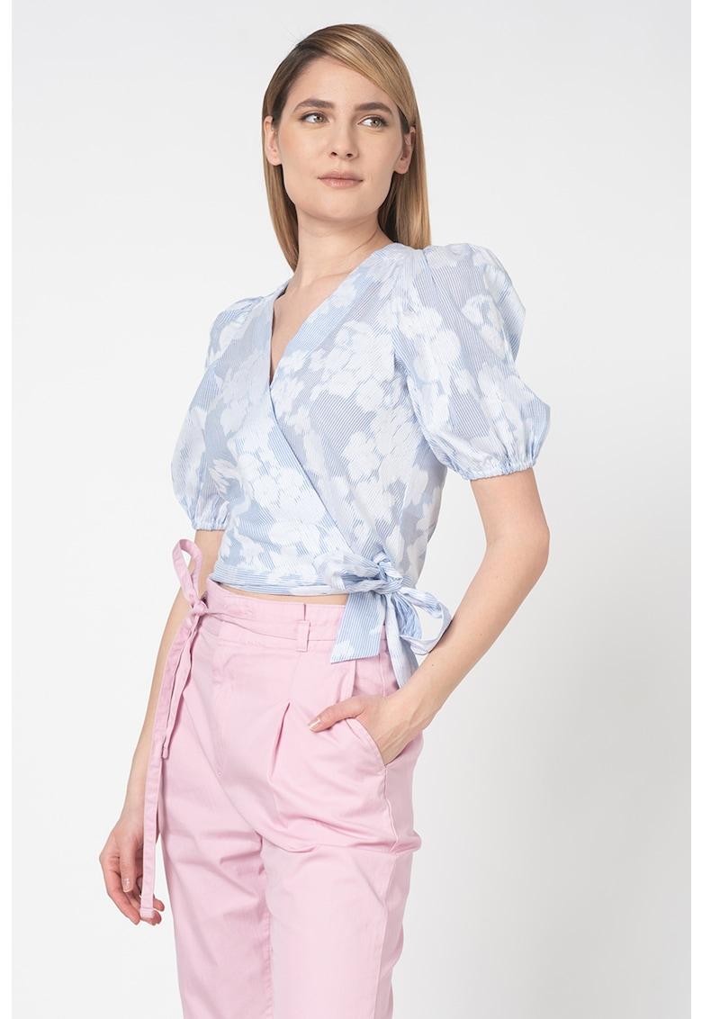 Bluza crop cu decolteu cache-coeur imagine