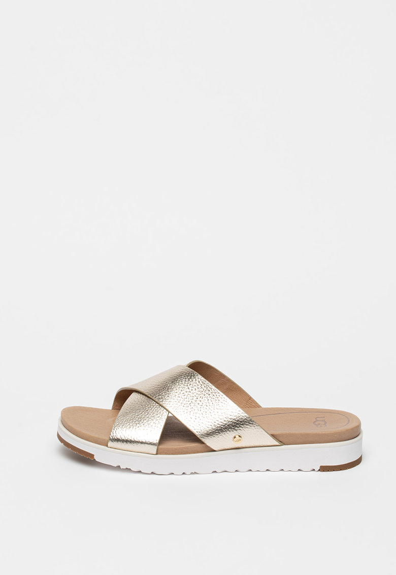Papuci din piele cu aspect metalizat Kari