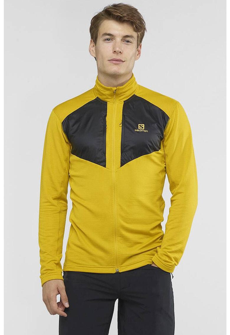Bluza cu fermoar si segmente contrastante - pentru drumetii Grid