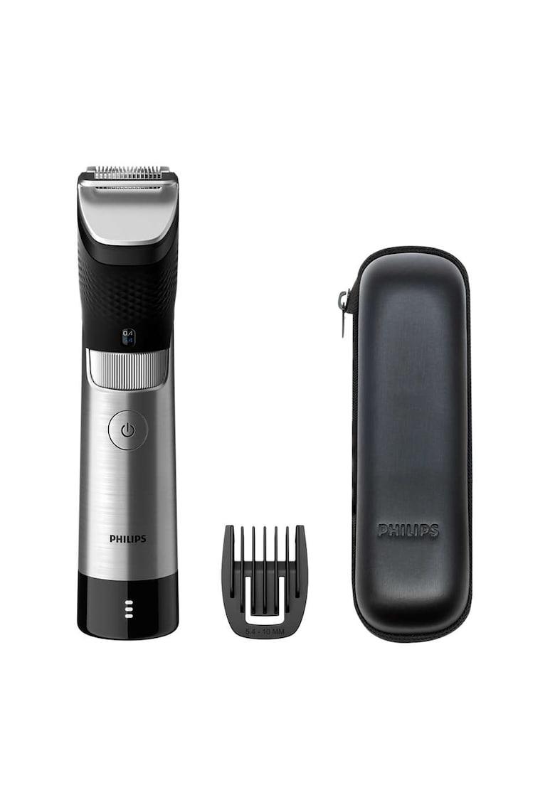 Aparat de tuns barba Prestige BT9810/15 - 30 de setari - 0.4-10 mm - tehnologie SteelPrecision - lame 100% metal - senzor PowerAdapt - rezistent la apa - toc de transport - Negru/Metalic