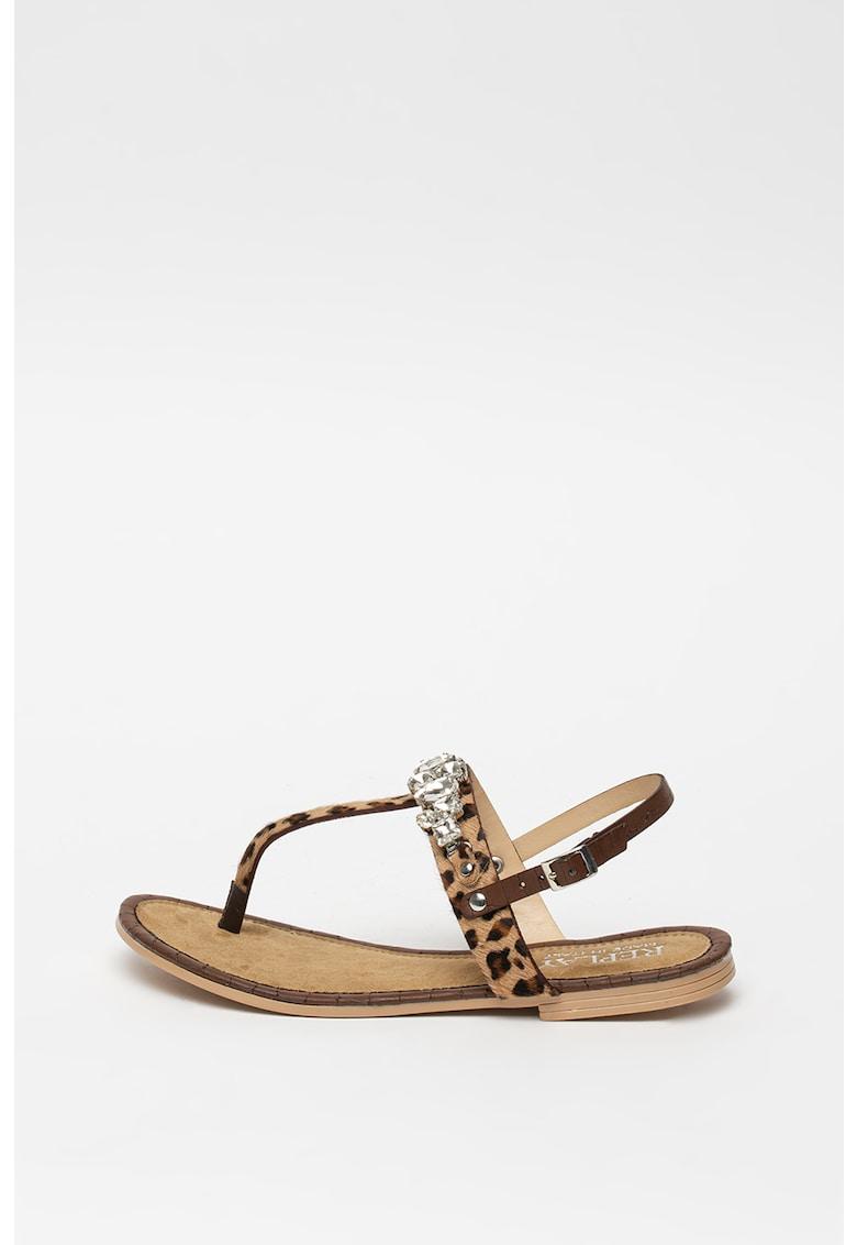 Sandale de piele cu par scurt - cu bareta separatoare Gardot