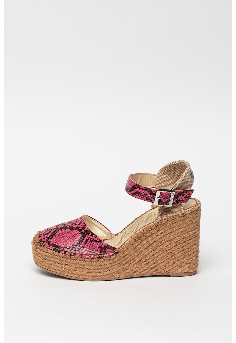 Sandale wedge tip espadrile - cu aspect de piele de reptila Wattlet