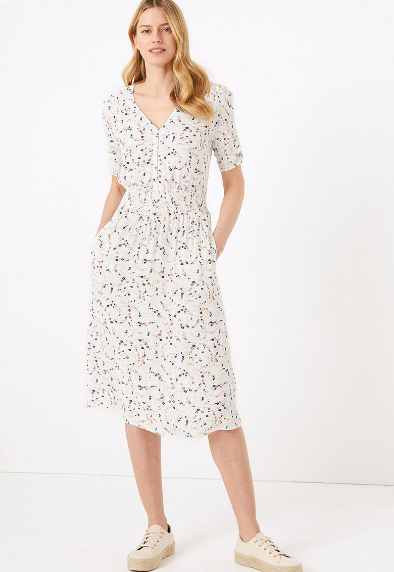 Rochie midi cu imprimeu abstract Marks-&-Spencer