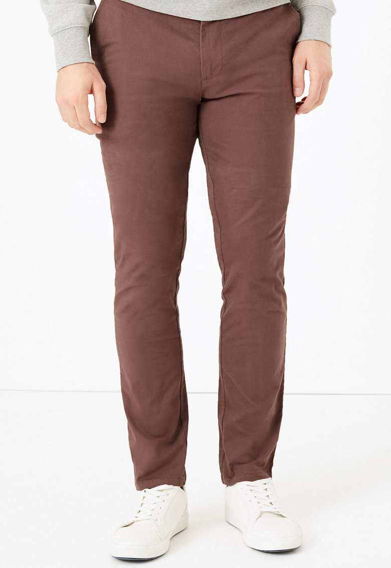 Pantaloni chino slim fit elastici