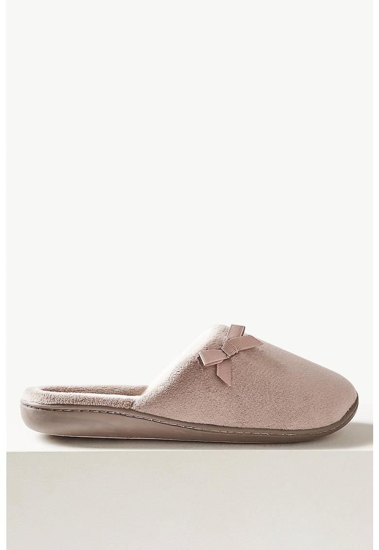 Papuci de casa cu aplicatii cu funda imagine