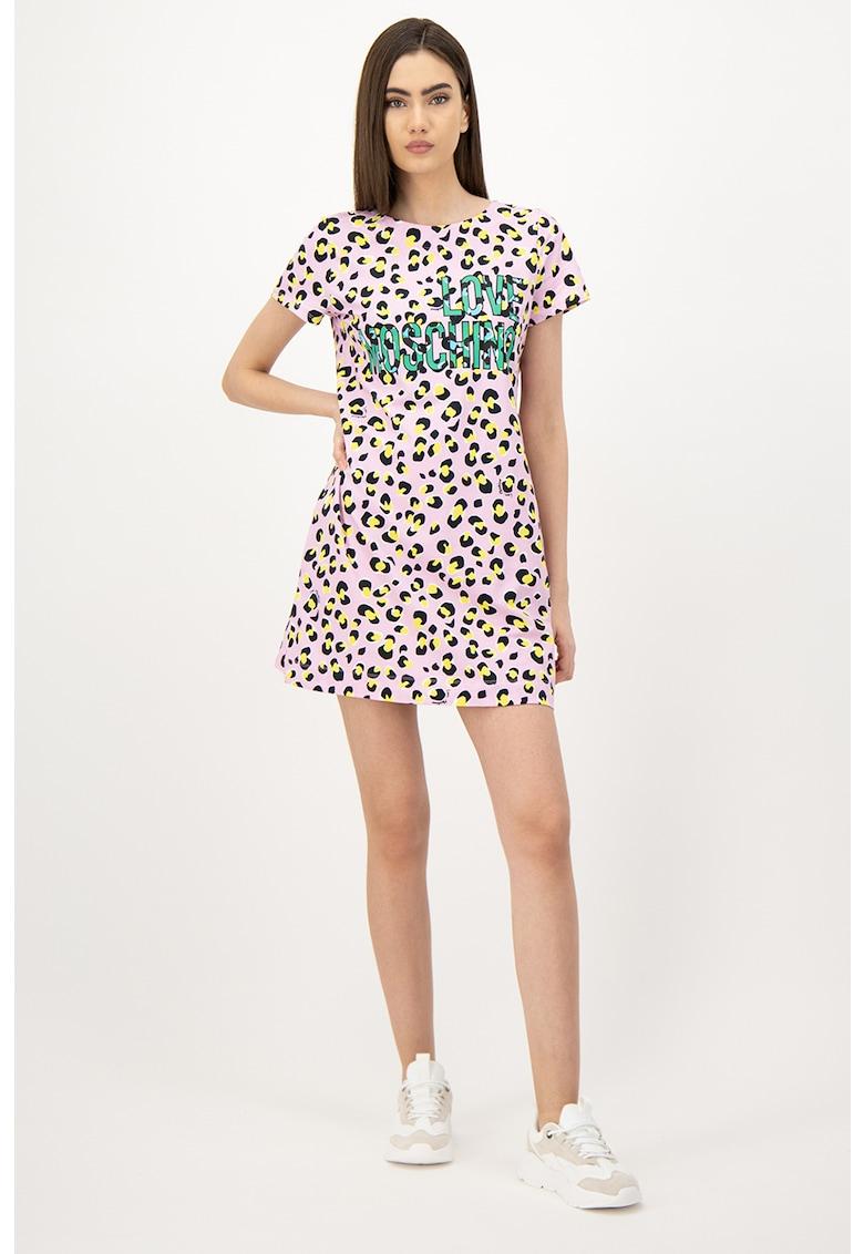 Rochie mini cu imprimeu logo si animal print