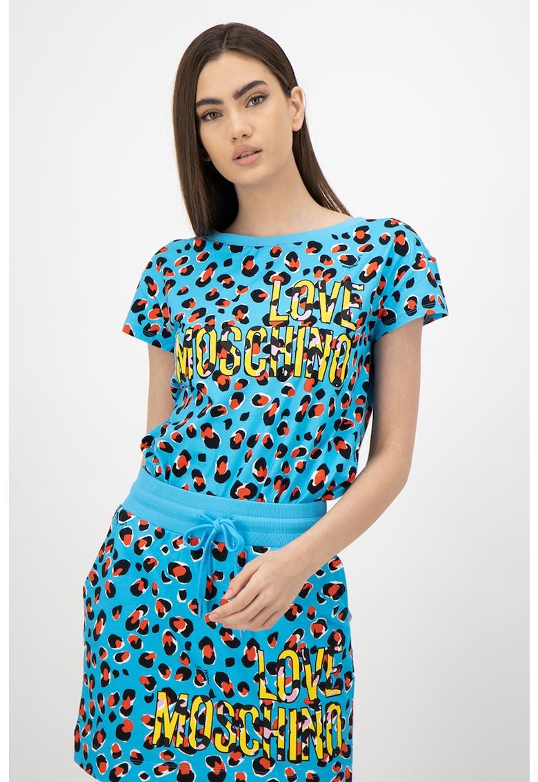 Tricou cu decolteu la baza gatului - imprimeu logo si animal print