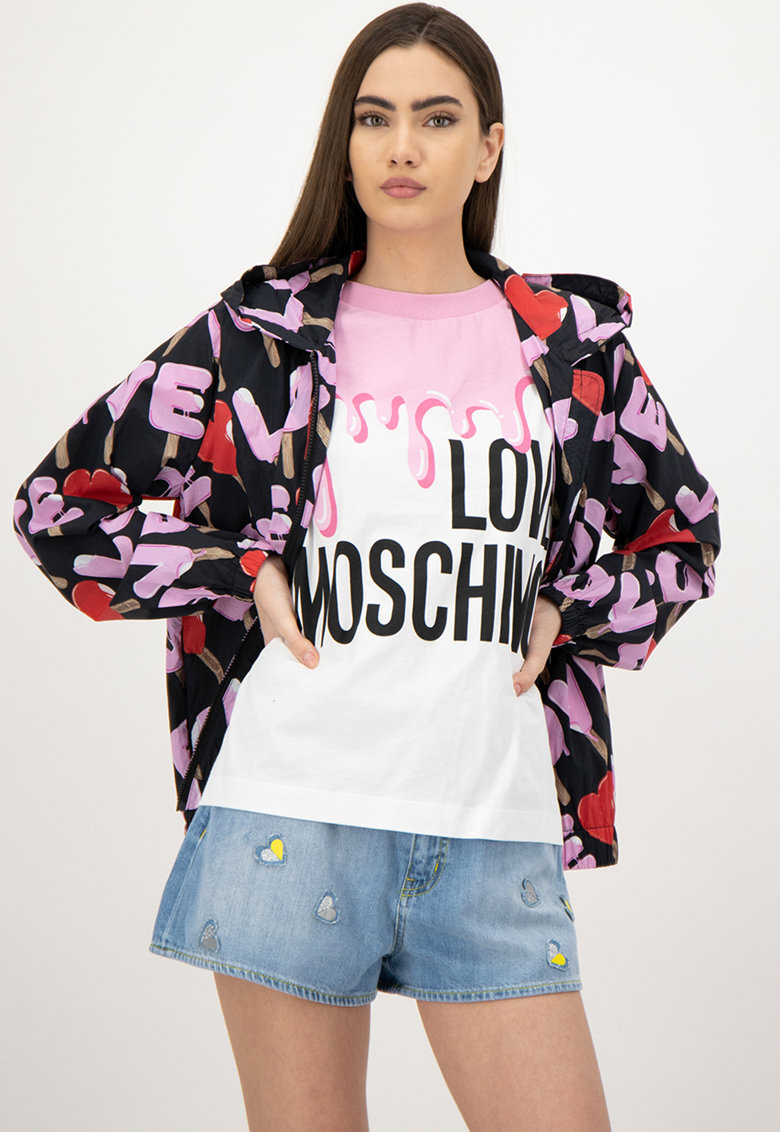 Jacheta cu imprimeu logo si fermoar