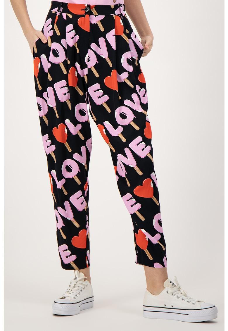 Pantaloni de viscoza cu model logo