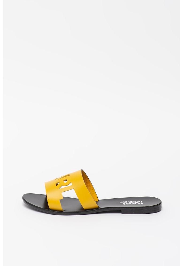 Papuci din piele cu logo decupat Skoot