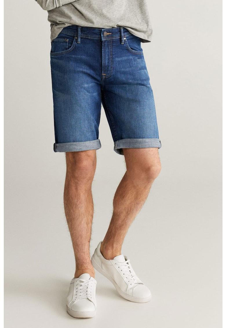Pantaloni scurti de denim cu terminatii pliabile Rock