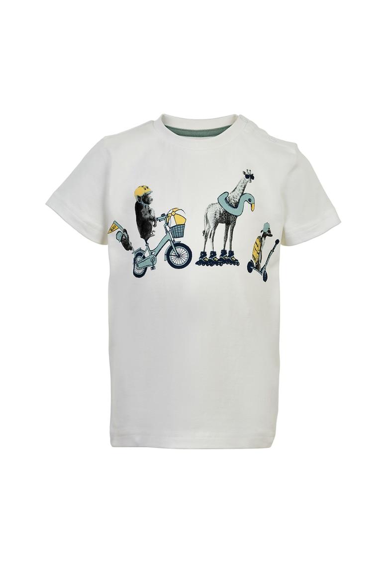 Tricou din bumbac organic cu imprimeu cu animale imagine fashiondays.ro