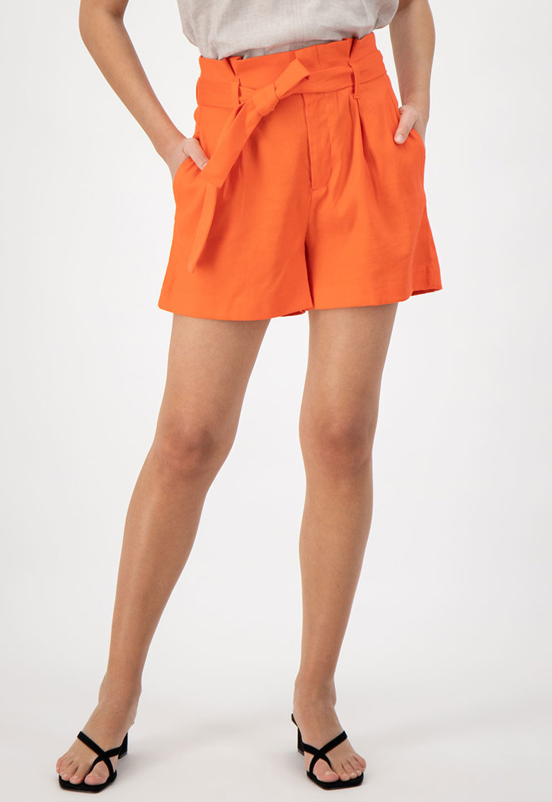 Pantaloni scurti din amestec de in - cu cordon in talie
