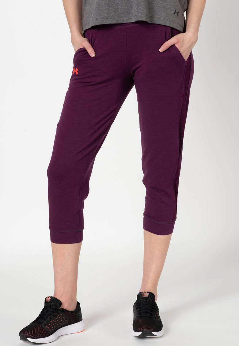 Pantaloni sport capri cu banda laterala de plasa imagine fashiondays.ro