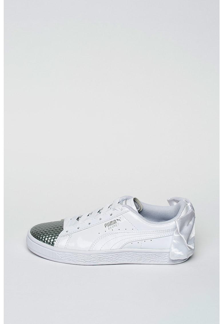 Pantofi sport din piele ecologica Basket Bow Coated Glam de la Puma